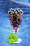 Wild blueberries with fresh green leaves in small pink wineglass Stock Photos