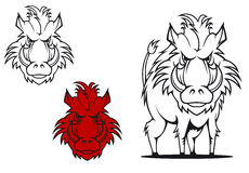 Wild boar. In cartoon style as a tattoo or mascot Royalty Free Stock Photo