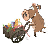 Wild boar and the cart with products Royalty Free Stock Image