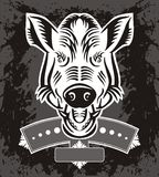 Wild Boar Head Logo Stock Photography