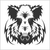 Wild Boar Head Logo Mascot Emblem Stock Image