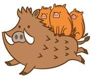 Wild boar and piglet.cute vector illustration. stock illustration