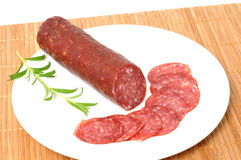 Wild boar salami Royalty Free Stock Images