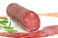 Wild boar salami Royalty Free Stock Photography