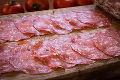 Wild boar salami, sardinian cuisine Royalty Free Stock Photos