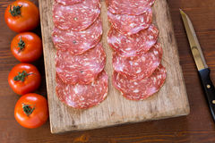 Wild boar salami, sardinian cuisine Stock Photos