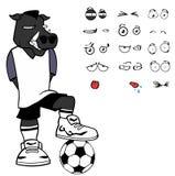 Wild boar soccer cartoon expressions set Royalty Free Stock Photos