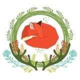 Wild bos Bloemen rond kader met rode vos stock illustratie