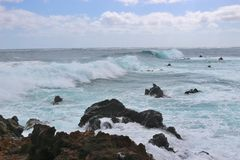 Wild breaking waves on the east coast of Lanzarote. Stock Images