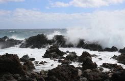 Wild breaking waves on the east coast of Lanzarote. Royalty Free Stock Photography
