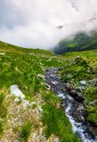 Wild brook of Fagaras mountains. Beautiful summer landscape with grassy slope and rocky cliffs. low clouds cover the top of mountain ridge Stock Photo