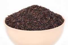 Wild brown rice in  bowl Stock Photography