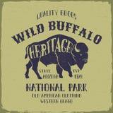 Wild Buffalo typography design. Stock Photos