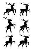 Wild bull elks or deers black silhouettes Royalty Free Stock Image