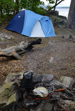 Wild camping. In lake scenery Stock Images
