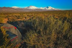 Wild camping in Argentina. Tent pitched on a pampa on the plains in Argentina, South America Royalty Free Stock Photography