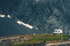 Wild Camping in the Camper. Camper Camping in the Wild Remote Mountain Landscape Royalty Free Stock Photography