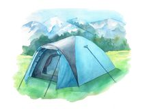 Wild camping illustration with tent on the green meadow. Nature landscape with mountains. Hand painted in watercolor. Isolated on royalty free illustration