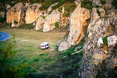 Motorhome camping in Dobrogea gorges, Romania. Wild camping with motorhome on Dobrogea gorges, Romania Royalty Free Stock Photo