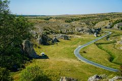 Wild camping. With motorhome on Dobrogea gorges, Romania Stock Photo