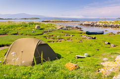 Wild camping in Norway. Wild camping in beautiful Norwegian summer scenery Stock Photo