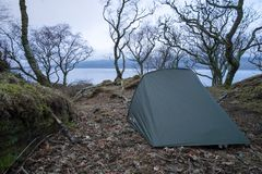 Wild camping in winter. Wild camping in Scotland Royalty Free Stock Image