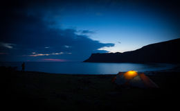 Wild Camping at Talisker Bay in the Scottish Highlands. A long exposure of Talisker Bay at night. North West Highlands of Scotland Royalty Free Stock Photography