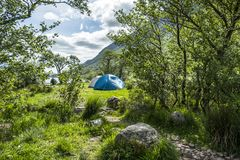 Wild camping in the wildernis of Glen Etive, Scotland. Europe Royalty Free Stock Photos