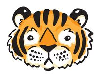Wild Cartoon Tiger Face Royalty Free Stock Images