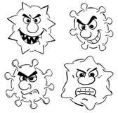 Wild cartoon viruses Royalty Free Stock Images
