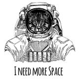 Wild cat Fishing cat Astronaut. Space suit. Hand drawn image of lion for tattoo, t-shirt, emblem, badge, logo patch. Wild cat Fishing cat Hand drawn image for Royalty Free Stock Photography