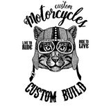Wild cat Fishing cat Biker, motorcycle animal. Hand drawn image for tattoo, emblem, badge, logo, patch, t-shirt. Wild cat Fishing cat Hand drawn image for tattoo Stock Images