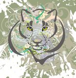 Wild cat on a grunge background Royalty Free Stock Photo