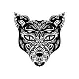 Wild cat head zentangle. Isolated on white Royalty Free Stock Image