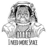 Wild cat Lynx Bobcat Trot wearing space suit Wild animal astronaut Spaceman Galaxy exploration Hand drawn illustration Royalty Free Stock Photo