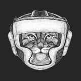 Athletic animal Wild cat Manul Boxing champion. Print for t-shirt, emblem, logo. Martial arts. Vector illustration with. Wild cat Manul Hand drawn image for Royalty Free Stock Images