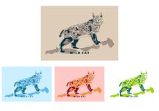 Wild Cat in popart portrait Royalty Free Stock Photography