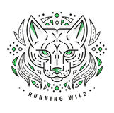 Wild cat. Tattoo icon flash old school design of lynx Royalty Free Stock Image