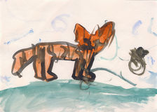 Wild cat in watercolor. Watercolor Painting by girls 2 years old. Wild cat, maybe tiger Stock Images