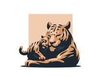 A tigress with her tiger cub royalty free illustration