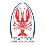 Wild caught marine lobster or crayfish retro icon. Delicious wild caught marine lobster or crayfish red symbol for seafood menu design element or fish shop label Stock Photo