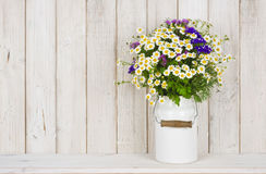 Wild chamomile flowers bouquet on table over wooden planks background.  Royalty Free Stock Image
