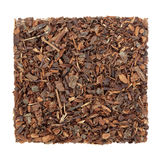 Wild Cherry Bark Herb. Used in natural alternative medicine over white background.  Cerezo silvestre Stock Images