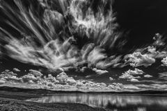 Wild Clouds Over Strawberry BW Royalty Free Stock Photos