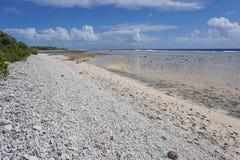 Wild coast atoll of Rangiroa French Polynesia Royalty Free Stock Images