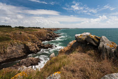 Wild coast of Ile d'Yeu in Vendee, France Stock Photo