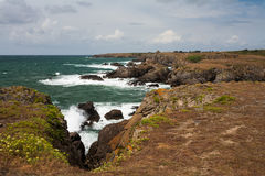 Wild coast of Ile d'Yeu in Vendee, France Stock Images