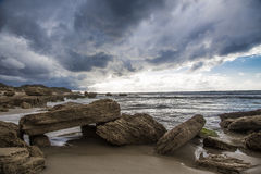 Wild coast , stormy weather Stock Photography