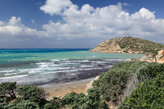 Wild coastline of Aegean Sea, Rhodes Island (Greec Royalty Free Stock Images