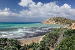 Coast of Aegean sea near Prasonisi cape, Rhodes Island - Greece Royalty Free Stock Images